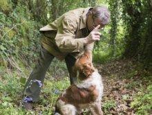 Le chien reçoit les ordres de son maître, Patrick Morin